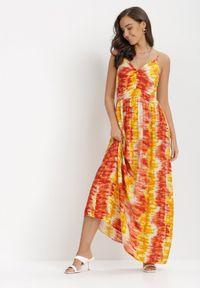 Born2be - Żółto-Czerwona Sukienka Grynienne. Kolor: żółty. Materiał: wiskoza. Długość rękawa: na ramiączkach. Wzór: jednolity, aplikacja, kolorowy. Długość: maxi