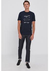 BOSS - Boss - T-shirt bawełniany Boss Casual. Okazja: na co dzień. Kolor: niebieski. Materiał: bawełna. Wzór: nadruk. Styl: casual