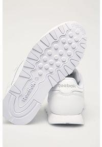 Białe buty sportowe Reebok Classic z cholewką, na sznurówki, z okrągłym noskiem