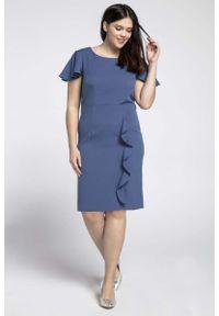 Nommo - Niebieska Elegancka Sukienka ze Zwiewnym Rękawem PLUS SIZE. Kolekcja: plus size. Kolor: niebieski. Materiał: wiskoza, poliester. Typ sukienki: dla puszystych. Styl: elegancki