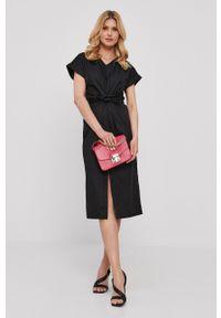 Nissa - NISSA - Sukienka. Okazja: na co dzień. Kolor: czarny. Materiał: tkanina. Długość rękawa: krótki rękaw. Wzór: gładki. Typ sukienki: proste. Styl: casual