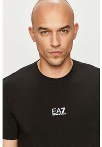 Czarny t-shirt EA7 Emporio Armani casualowy, z nadrukiem, na co dzień
