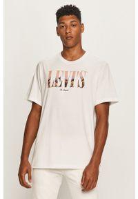 Biały t-shirt Levi's® na spotkanie biznesowe, z okrągłym kołnierzem, w kolorowe wzory, biznesowy