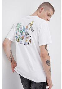 HUF - T-shirt bawełniany x Steven Harrington. Okazja: na co dzień. Kolor: biały. Materiał: bawełna. Wzór: nadruk. Styl: casual