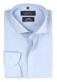 Chiao - Koszula Męska z Długim Rękawem, 100% BAWEŁNA, Taliowany Krój, Jasny Niebieski. Okazja: do pracy, na spotkanie biznesowe. Kolor: niebieski. Materiał: bawełna. Długość rękawa: długi rękaw. Długość: długie. Wzór: aplikacja. Styl: biznesowy, elegancki