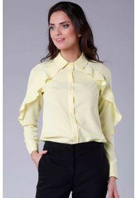 Nommo - Koszulowa Żółta Bluzka z Falbanką. Kolor: żółty. Materiał: wiskoza, poliester