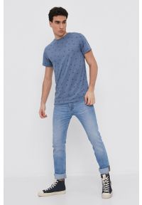 Pepe Jeans - T-shirt Lynch. Kolor: niebieski. Materiał: dzianina