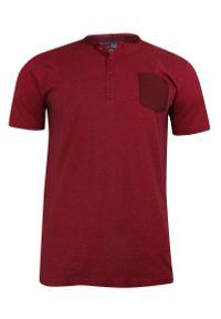 Pako Jeans - T-shirt Bawełniany, Czerwony w Paski z Kieszonką, Męski, Krótki Rękaw, Dekolt z Guzikami -PAKO JEANS. Okazja: na co dzień. Kolor: czerwony. Materiał: bawełna. Długość rękawa: krótki rękaw. Długość: krótkie. Wzór: paski. Styl: casual