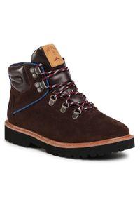 Brązowe buty zimowe Pepe Jeans z cholewką