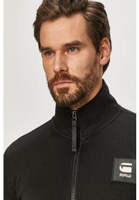 Czarna bluza rozpinana G-Star RAW z aplikacjami, bez kaptura, casualowa