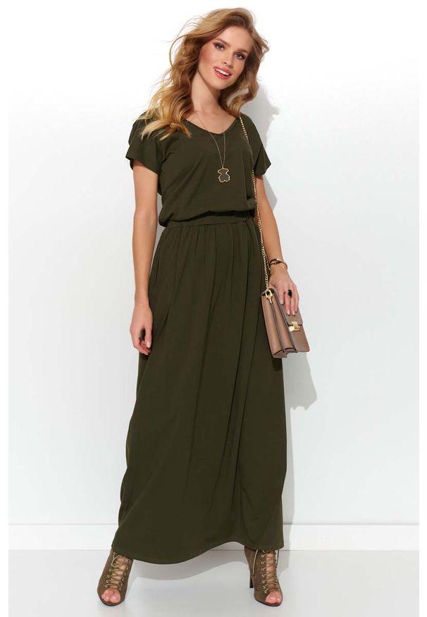 Makadamia - Letnia Sukienka Maxi z Kieszeniami - Khaki. Kolor: brązowy. Materiał: elastan, bawełna. Sezon: lato. Długość: maxi