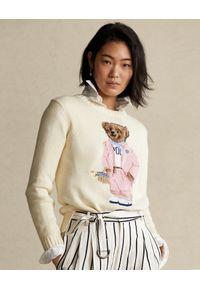 Ralph Lauren - RALPH LAUREN - Beżowy sweter z misiem. Okazja: na co dzień. Typ kołnierza: polo. Kolor: beżowy. Materiał: materiał. Styl: casual