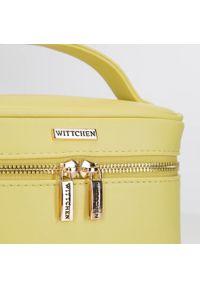 Wittchen - Damska kosmetyczka kuferek mała. Kolor: żółty. Materiał: skóra ekologiczna. Wzór: aplikacja, kolorowy #4