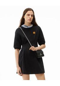 Kenzo - KENZO - Czarna sukienka mini Tiger Crest. Kolor: czarny. Materiał: bawełna, dresówka, prążkowany. Wzór: aplikacja. Długość: mini