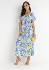 Born2be - Niebieska Sukienka Conigan. Typ kołnierza: dekolt w kształcie V. Kolor: niebieski. Materiał: tkanina, wiskoza. Wzór: kwiaty, aplikacja, kolorowy. Długość: mini