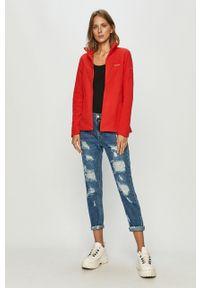 Czerwona bluza rozpinana columbia bez kaptura, casualowa