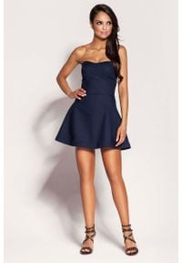 Dursi - Granatowa Mini Sukienka z Odkrytymi Ramionami. Kolor: niebieski. Materiał: elastan, nylon, bawełna. Typ sukienki: z odkrytymi ramionami. Długość: mini