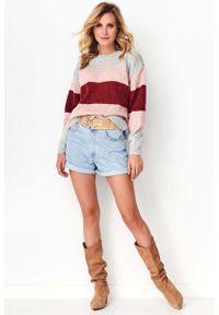 Sweter oversize Makadamia w kolorowe wzory