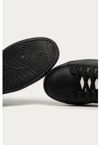 Czarne sneakersy Trussardi Jeans na sznurówki, z cholewką, z okrągłym noskiem