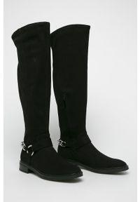 Czarne kozaki Calvin Klein z cholewką, na obcasie