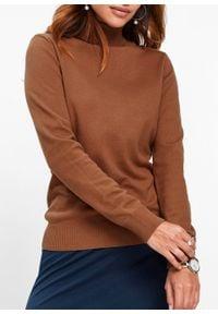 Sweter z golfem bonprix kasztanowy brąz. Typ kołnierza: golf. Kolor: brązowy
