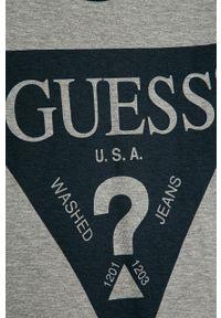 Szary t-shirt Guess Jeans na co dzień, z nadrukiem, casualowy