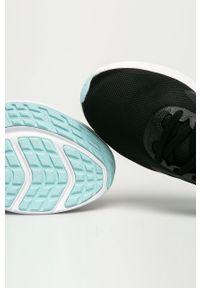 Czarne buty sportowe Nike na obcasie, na sznurówki, z okrągłym noskiem
