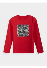 4f - Longsleeve chłopięcy (122-164). Kolor: czerwony. Materiał: bawełna, dzianina. Długość rękawa: długi rękaw