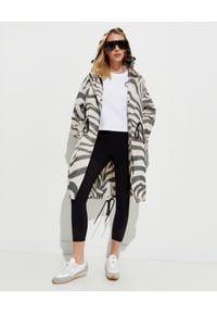 MONCLER - Wzorzysty płaszcz Archid. Kolor: czarny. Długość rękawa: długi rękaw. Długość: długie. Wzór: motyw zwierzęcy. Sezon: wiosna, jesień