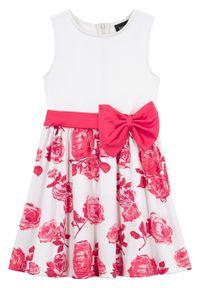 Biała sukienka bonprix z kokardą, w kwiaty