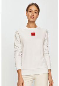 Biała bluza Hugo z aplikacjami, bez kaptura, z długim rękawem
