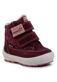 Fioletowe buty zimowe Superfit na spacer, z cholewką