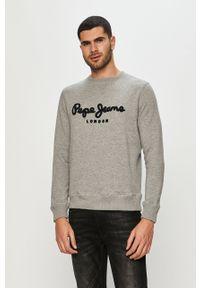 Szara bluza nierozpinana Pepe Jeans na co dzień, casualowa, z aplikacjami, bez kaptura