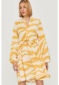 Żółta sukienka Vila mini, casualowa, prosta, na co dzień