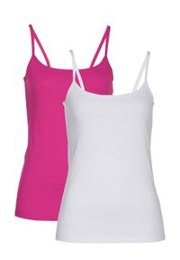 Top na cienkich ramiączkach (2 szt.) bonprix różowa magnolia - biały. Kolor: różowy. Długość rękawa: na ramiączkach