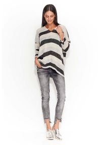 Sweter oversize Makadamia w paski