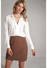 Figl - Trapezowa Mini Spódnica- brązowa. Kolor: brązowy. Materiał: poliester