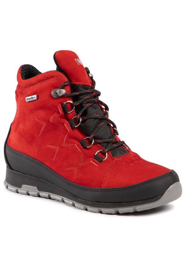 Czerwone buty trekkingowe Nik z cholewką, z aplikacjami, klasyczne