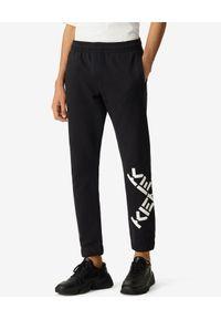 Kenzo - KENZO - Czarne spodnie jogger Sport. Kolor: czarny. Materiał: dresówka, materiał. Wzór: aplikacja. Sport: kolarstwo, fitness, bieganie