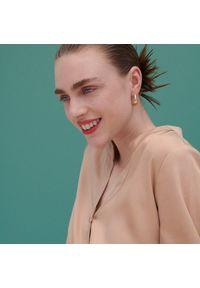 Reserved - Szmizjerka z Tencelu™ Lyocellu - Beżowy. Kolor: beżowy. Typ sukienki: szmizjerki