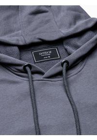 Ombre Clothing - Bluza męska z kapturem z nadrukiem B1216 - szara - XXL. Typ kołnierza: kaptur. Kolor: szary. Materiał: poliester, bawełna. Wzór: nadruk