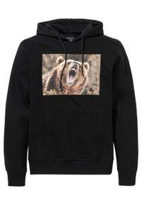 Czarna bluza bonprix z motywem zwierzęcym, z kapturem