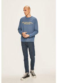 Niebieska bluza nierozpinana Pepe Jeans casualowa, z nadrukiem, bez kaptura, na co dzień