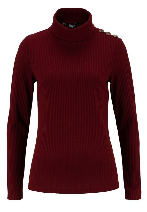 Czerwona bluzka bonprix z golfem, w prążki