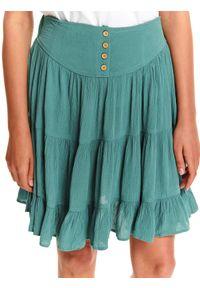 TOP SECRET - Rozkloszowana spódniczka mini. Kolor: turkusowy. Długość: krótkie. Wzór: aplikacja. Sezon: lato, wiosna. Styl: elegancki