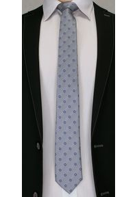 Męski Krawat Chattier - Stalowy, Drobne Kwiatki. Kolor: szary. Materiał: tkanina. Wzór: kwiaty. Styl: wizytowy, elegancki