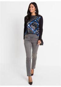Czarna bluzka bonprix z długim rękawem, w geometryczne wzory, długa