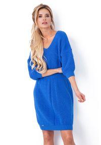 Fobya - Niebieska Sukienka z Dekoltem V z Przodu i na Plecach. Kolor: niebieski. Materiał: akryl
