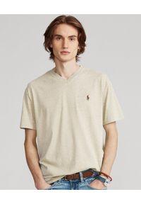 Ralph Lauren - RALPH LAUREN - Melanżowy t-shirt w serek Custom Fit. Typ kołnierza: dekolt w serek. Kolor: beżowy. Materiał: bawełna. Wzór: melanż #1