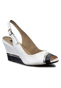 Białe sandały Libero na co dzień, na obcasie, casualowe